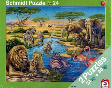 Rahmenpuzzle 2er Set - Tiere in Afrika 24 Teile - Tiere am Nordpol 40 Teile - SCHMIDT SPIELE®