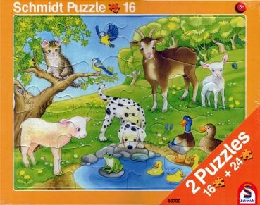 Rahmenpuzzle 2er Set - Tierkinder 16 Teile - Bauernhoftiere 24 Teile - SCHMIDT SPIELE®