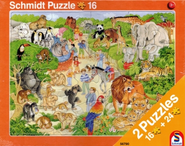 Rahmenpuzzle 2er Set - Tiere im Zoo 16 Teile - Tiere auf dem Bauernhof 24 Teile - SCHMIDT SPIELE®