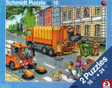 Rahmenpuzzle 2er Set - Müllabfuhr 16 Teile - Baustelle 24 Teile - SCHMIDT SPIELE®