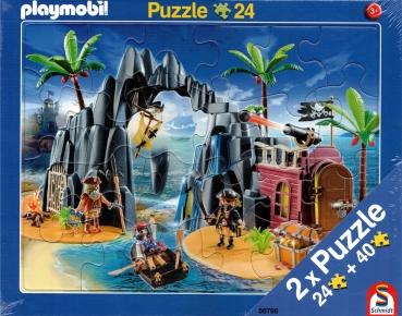 Rahmenpuzzle 2er Set - Playmobil® Pirateninsel 24 Teile - Playmobil® Bauernhof 40 Teile - SCHMIDT SPIELE®